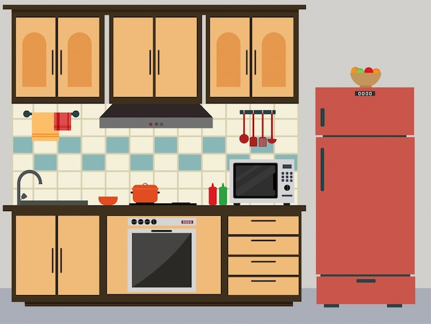 Flat kitchen with red fridge vector premium download for Kitchen design vector