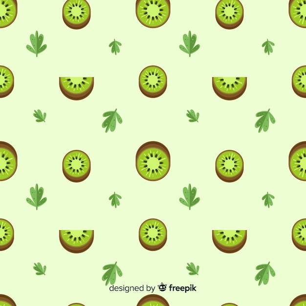 Flat kiwis and leaves pattern Free Vector