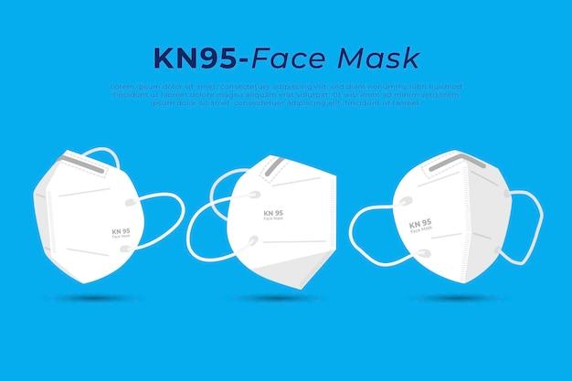 Maschera facciale piatta kn95 in diverse prospettive Vettore gratuito