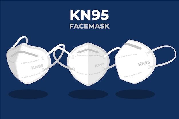 さまざまな視点でのフラットkn95フェイスマスク Premiumベクター