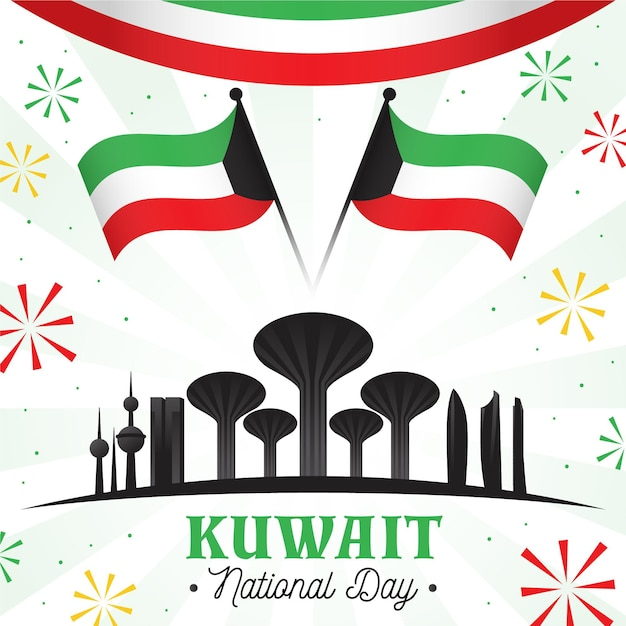 Illustrazione di giorno nazionale piatto kuwait con edifici famosi Vettore gratuito