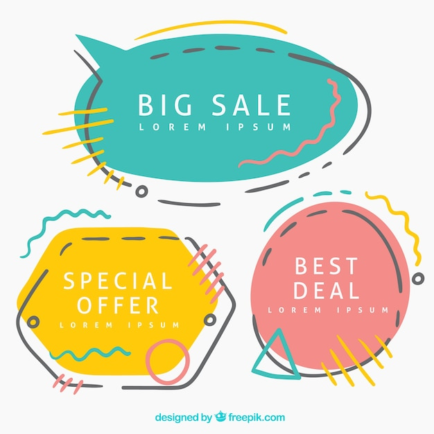 Flat label/badge sale collection Free Vector