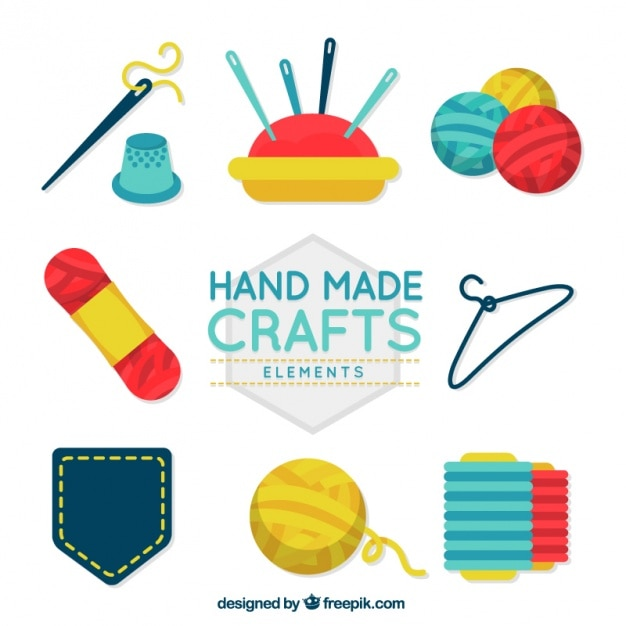 Flat labels about crafts Free Vector
