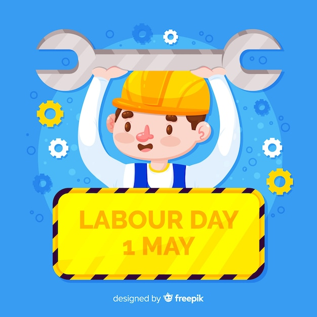 Flat labor day background Free Vector