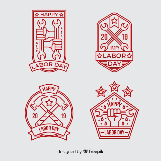 Flat labor day badge collection Free Vector