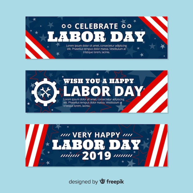 Flat labor day banner template Free Vector