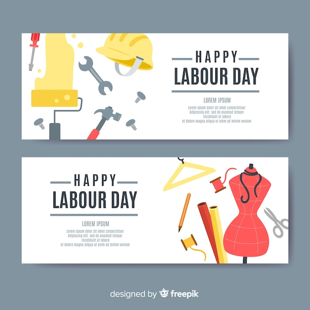 Flat labor day banners Free Vector