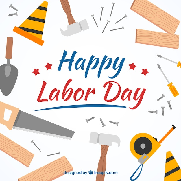Flat labor day design with tools
