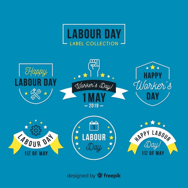 Flat labor day label collection Free Vector