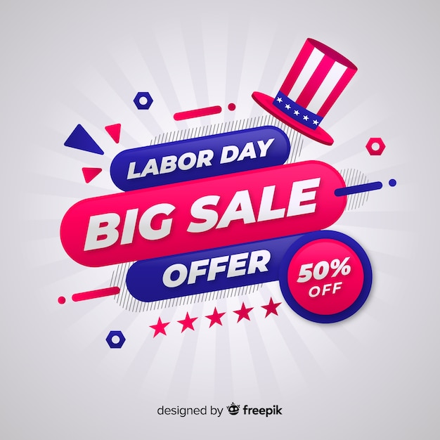 Flat labor day sale background Free Vector