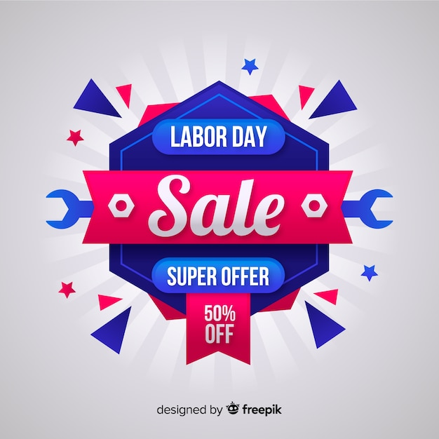 Flat Labor Day Sale Background Vector Free Download