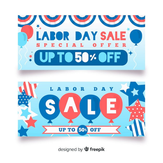 Flat labor day sale banners Free Vector