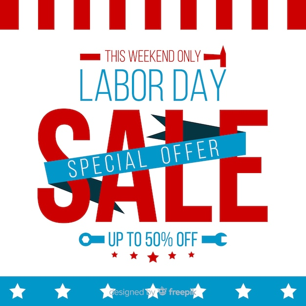Flat labor day sales background Free Vector