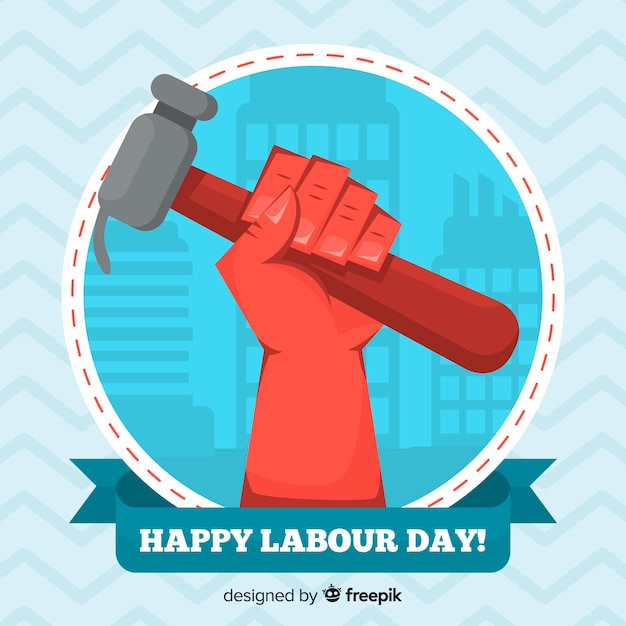 Flat labour day background Free Vector