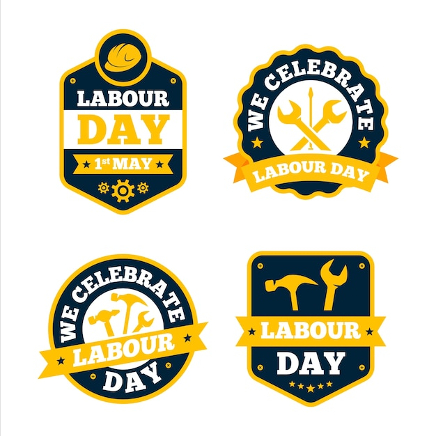 Flat labour day label collection Free Vector