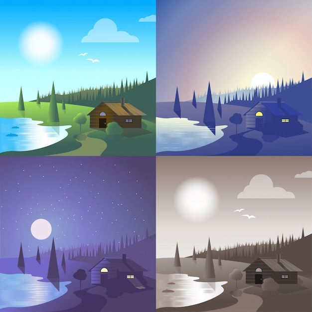 Flat lake house landscape river bank wild forest scene set. stylish web banner nature outdoor collection. daylight, night moonlight, sunset view, retro vintage picture sepia. Free Vector