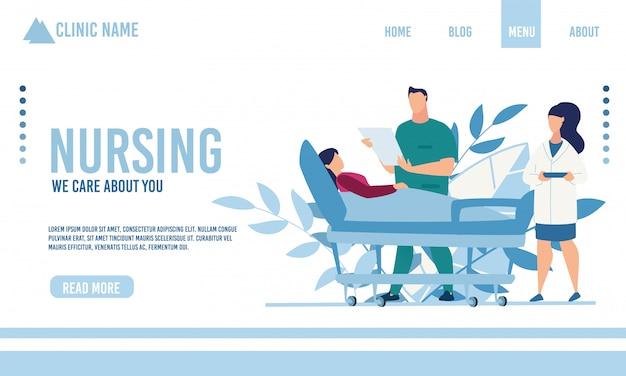 Flat landing page advertising nursing service Premium Vector