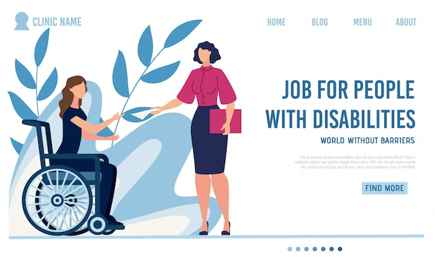 Flat landing page offer job for disabled people Premium Vector