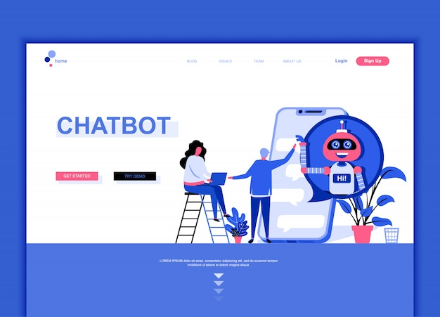 Flat landing page template of chat bot Vector | Premium Download