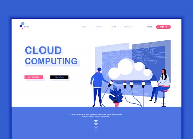 Flat landing page template of cloud technology Premium Vector