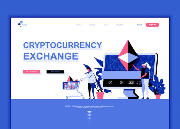 Flat landing page template of cryptocurrency exchange Premium Vector