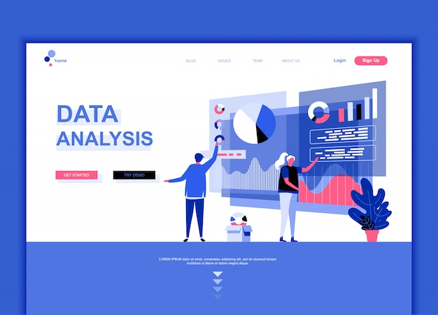 Flat landing page template of data analysis Premium Vector