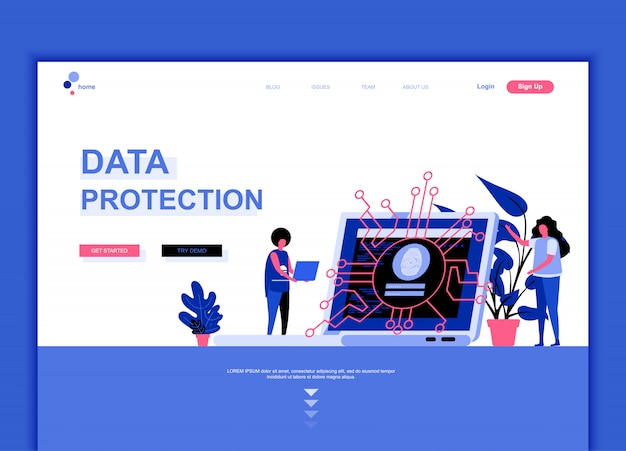 Flat landing page template of data protection Premium Vector