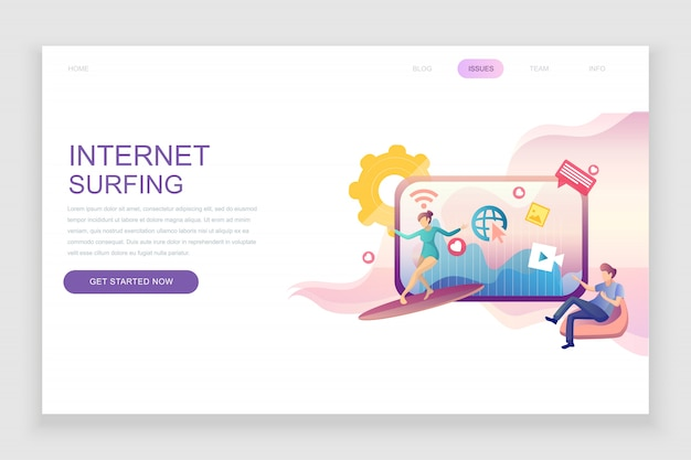 Flat landing page template of internet surfing Premium Vector