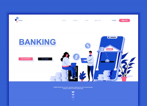 Flat landing page template of online banking Premium Vector
