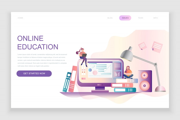 Flat landing page template of online education Premium Vector