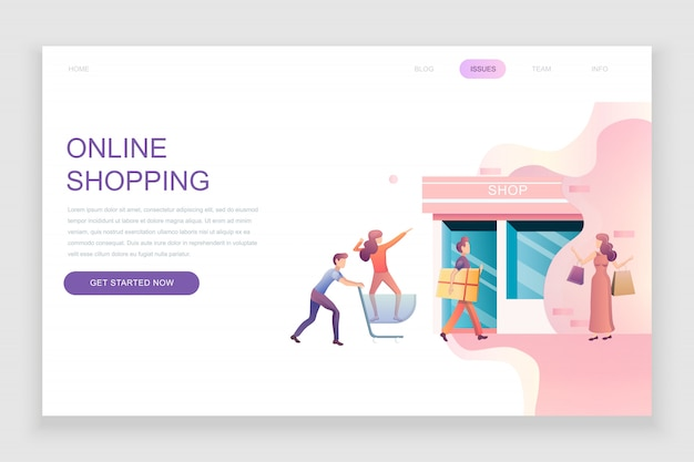 Flat landing page template of online shopping Premium Vector