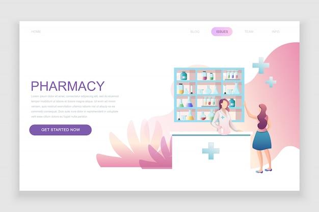 Flat landing page template of pharmacist in pharmacy Premium Vector