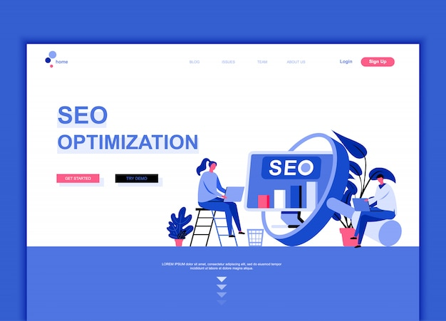 Flat landing page template of seo analysis Premium Vector