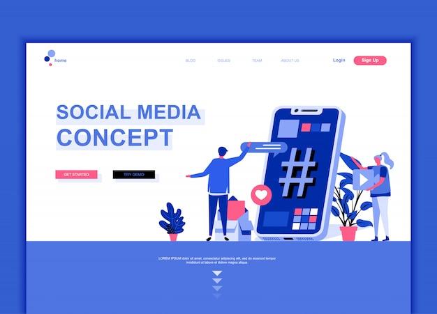 Flat landing page template of social media Premium Vector