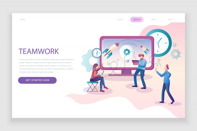 Flat landing page template of teamwork Premium Vector