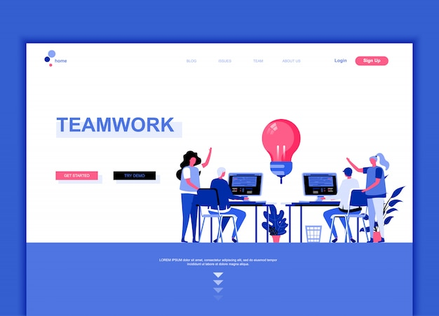 Flat landing page template of teamwork Premium Vector
