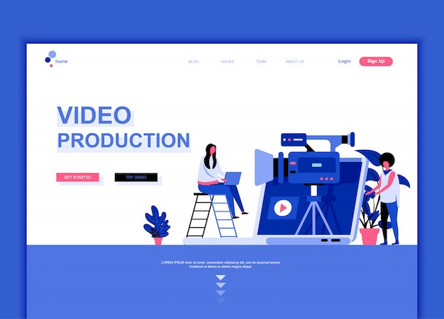 Flat landing page template of video production Premium Vector
