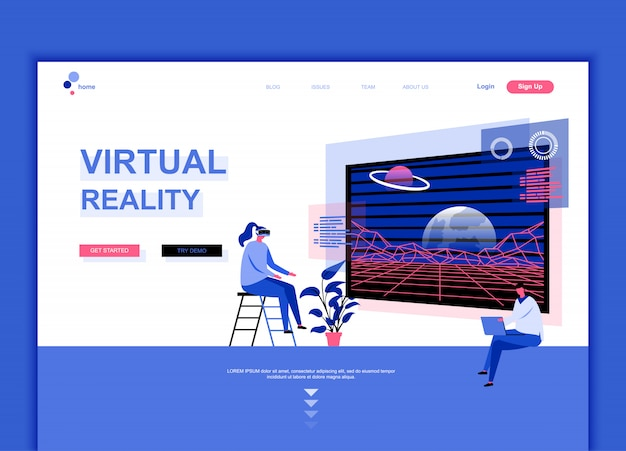Flat landing page template of virtual reality Premium Vector