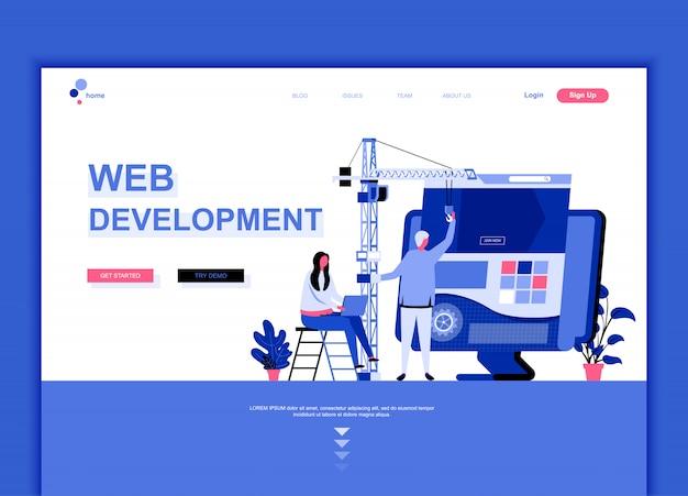 Flat landing page template of web development Premium Vector