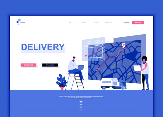 Flat landing page template of worldwide delivery Premium Vector