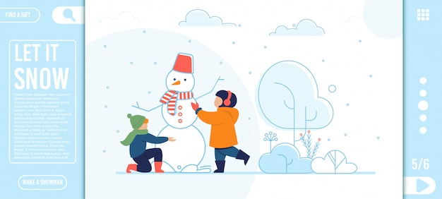 Flat landing page with happy kids making snowman Premium Vector
