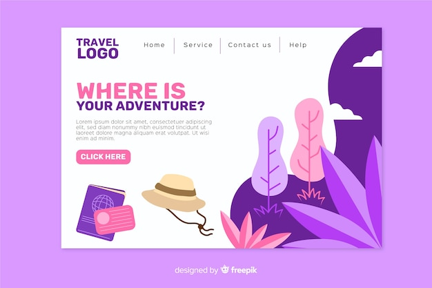 Flat landing page with travel elements Free Vector