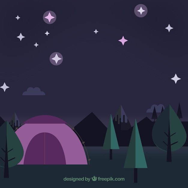 Flat landscape at night background
