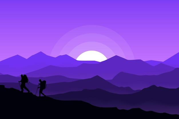 夜の平らな風景の美しい登山家 Premiumベクター