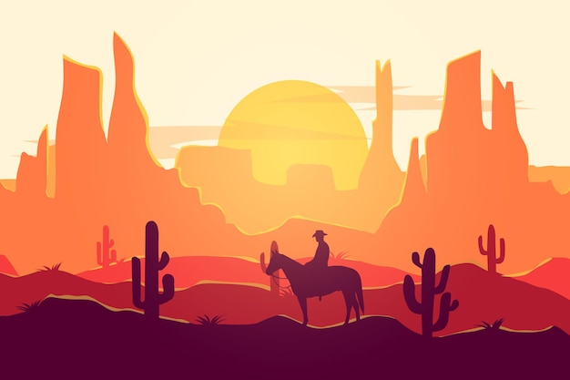 Flat landscape cowboy desert nature beautiful atmosphere during the day Premium Vector