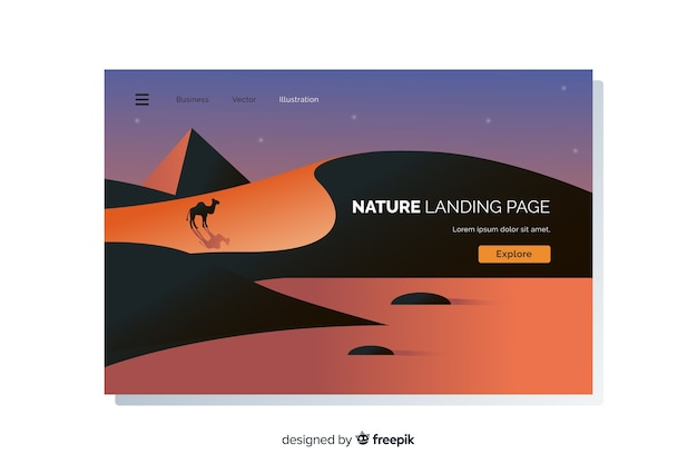 Flat landscape landing page template Free Vector