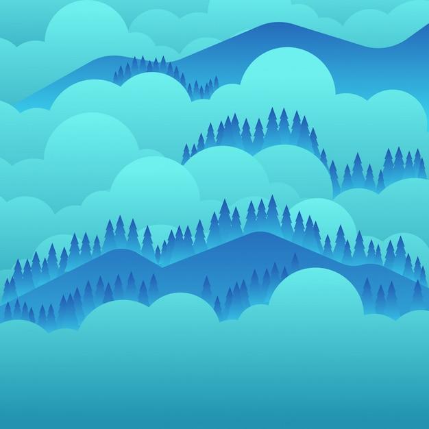 平らな風景の山の背景 Premiumベクター