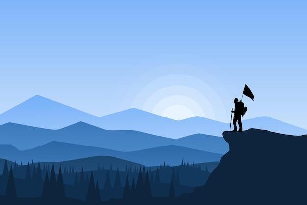 美しい雰囲気の旗を掲げる平坦な風景の登山家 Premiumベクター