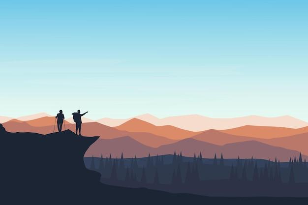 美しい雰囲気を見る平坦な風景の登山家 Premiumベクター
