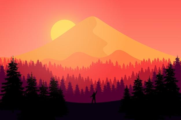 オレンジ色の夕日と午後の平らな風景の山々 Premiumベクター